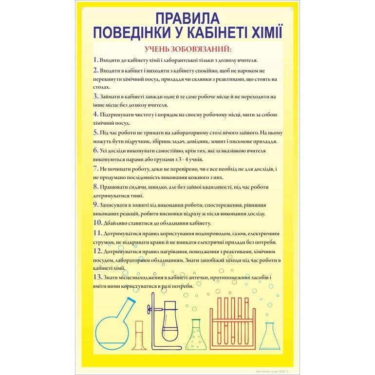 Стенд Правила поведінки у кабінеті хімії (270323.12)