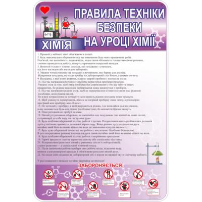 Стенд Правила безпеки на уроці хімії (270324.8)